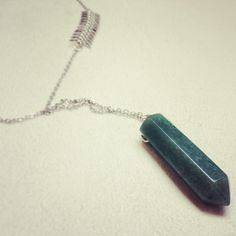 Jade Pendulum and Silver Fish Spine Necklace. $72.00, via Etsy.