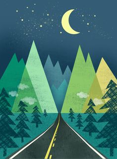 the road + mountains /// The Long Road at Night Art Print by Jenny Tiffany Quilt Modernen, Art Graphique, Grafik Design, Wallpaper, Art Lessons, Art Projects, Illustration Art, Artsy, Art Prints