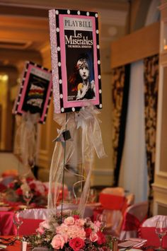 Pink Broadway Themed Bat Mitzvah - The Celebration Society Bat Mitzvah Decorations, Bat Mitzvah Themes, Bat Mitzvah Party, Bar Mitzvah, Broadway Wedding, Broadway Theme, Theatre Wedding, Red Carpet Theme Party, Sweet 16 Centerpieces