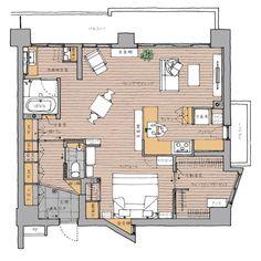 こんにちは。今回はMさんの家をBLOG見学会でご紹介します。 間取り図はこんな感じです。さあ、それでは行きましょう! 玄関ドアから入るとゆとりのある土間のある玄関に入ります。正面に飾り棚、左手には下足 Apartment Layout, Room Planning, Japanese House, Woodworking Projects Diy, Living Room Interior, House Rooms, My Room, Home Deco, House Plans