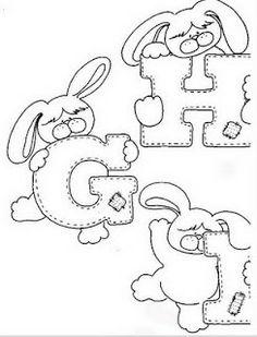 Alfabeto de conejitos para colorear.