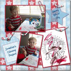 4th of July Coloring Pages and Digital Scrapbooking Ideas!