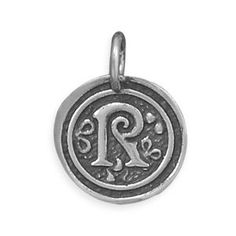 $9.99 Amazon.com: Sterling Silver Round Coin Oxidized Initial Monogrammed Charms Pendants Letter R: Jewelry