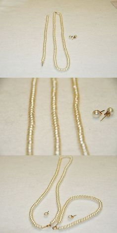 Pearl 164327: Tahitian Pearl Necklace, Bracelet, Stud Earring Set 14K Yellow -> BUY IT NOW ONLY: $320 on eBay!