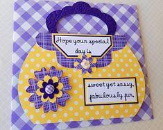 Carte d'anniversaire pour elle, carte d'anniversaire femme, carte d'anniversaire de maman, soeur carte d'anniversaire, carte jaune et violette, carte de voeux d'anniversaire