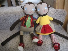 https://flic.kr/p/bajsjt | Mikey and Molly Monkey | These are my second and third machine sewing creations (after a potholder.)  They are not perfect but they are CUTE!  I used the free pattern/tutorial from mmmcrafts; it was so helpful and fun.  mmmcrafts.blogspot.com/2008/07/drum-roll-pleasemolly-monk...