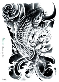 /New 2015 3D Horror Big Black Fish Designs Cool Temporary Fake Tattoo ...