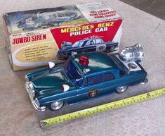 The car works! siren works & the roof light works. Mercedes Models, Mercedes Benz, Motor Works, Light Works, Benz C, Roof Light, Vintage Tins, Vintage Models, Police Cars