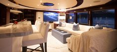 "Skylounge aboard Motor Yacht ""Trending"". Interior Design by Claudette Bonville Associates, Inc."