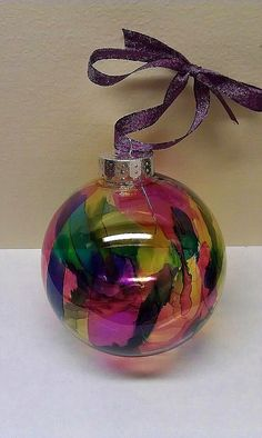 Tie-dye Ornament: Glass ornament with alcohol ink