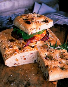Focaccia — hearth bread — originated in Italy and is quite versatile. For a snack or to accompany soup or salad try dipping this flat bread in olive oil or cut it into squares, split them, and make sandwiches. Recipe: Rosemary Raisin Focaccia   - CountryLiving.com