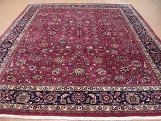 10x13 Persian Mashad Hand Knotted Wool Plum Red Blues Signed Large Oriental  Rug | EBay
