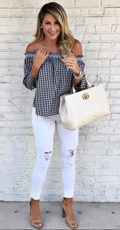 0028dd20277a gingham off-the-shoulder top Fashion For Summer 2017