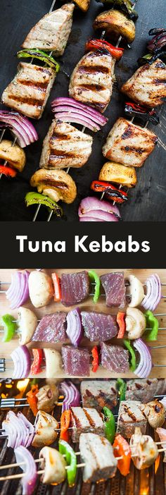 Get your grill on with tuna kabobs! skewers of marinated fresh tuna, onions, bell peppers, and mushrooms. Fresh Tuna Recipes, Tuna Steak Recipes, Kebab Recipes, Grilling Recipes, Fish Recipes, Seafood Recipes, Paleo Recipes, Healthy Recipes, Barbecue