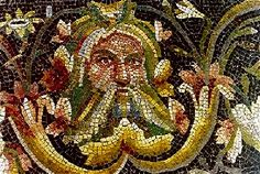 Achelous was often reduced to a bearded mask, an inspiration for the medieval Green Man. Floor mosaic, Zeugma, Turkey.  Acheloos, detail of roman mosaic from Zeugma - Achelous - Wikipedia, the free encyclopedia