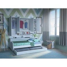 Compact Sofa and Cabinets Wall Twin Murphy Bed Belle Boys Room