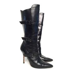 Pre-Owned Manolo Blahnik Black Leather Buckle Boots Size 38.5 ($395) ❤ liked on Polyvore featuring shoes, boots, black, black heeled boots, tall heel boots, side zip boots, tall high heel boots and black leather buckle boots