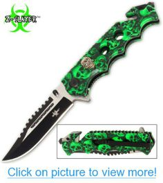 Green Skull Zombie Slayer GRIP HANDLE ASSISTED OPENING RESCUE POCKET KNIFE With Glass Breaker