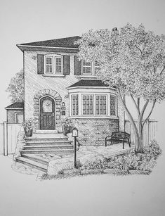 Custom pen and ink drawings by BlackDogArtShop : Custom pen and ink house portraits Landscape Pencil Drawings, Landscape Sketch, Pencil Art Drawings, Pencil Sketching, Architecture Concept Drawings, Architecture Sketchbook, Art Sketchbook, Architecture Portfolio, Interior Architecture