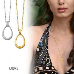 Beautiful and Gorgeous Amore Necklaces in silver and gold plated silver Jewellery