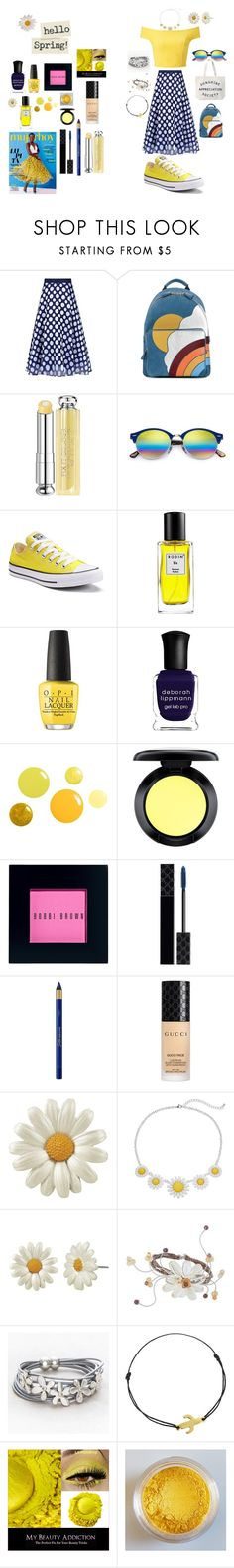 """Hello Sunny Daze"" by coastaldreams ❤ liked on Polyvore featuring Sachin + Babi, Miss Selfridge, Anya Hindmarch, Christian Dior, Ray-Ban, Converse, Rodin, OPI, Deborah Lippmann and MAC Cosmetics"