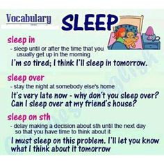 English vocabulary - phrasal verbs with sleep