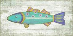 """Love this brightly multi-colored aqua blue funky fish 11""""w x 22""""l wall art from Suzanne Nicoll! Collect all four colors for a fun beach cottage look."""