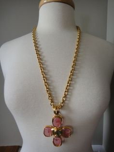 Chanel pink gripoix maltese cross necklace at Pilgrim - NYC