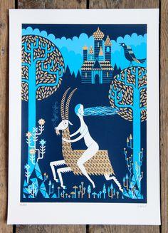 Fantastic use of the colour blue. Original print by Stuart Kolakovic