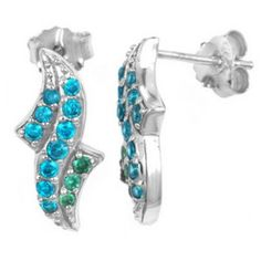 Exxotic genuine 925 sterling silver earring in B.T and aqua colored American diamond - Online Shopping for Earrings by Exxotic jewelz