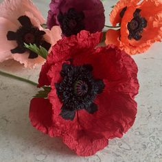 Crepe Paper Oriental Poppy Single Stem Wedding by NectarHollow