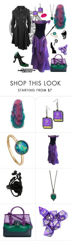 """""""Mage"""" by missmoxxie ❤ liked on Polyvore featuring Astley Clarke, Arnold Scaasi, Stephen Webster, Versace, John Fluevog, Lime Crime, gamer and dungeonsanddragons"""