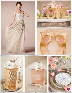Pink and gold wedding inspiration board featuring a glittering wedding gown, touches of coral and blush pink, pretty gold shoes, and a gilded wedding cake.