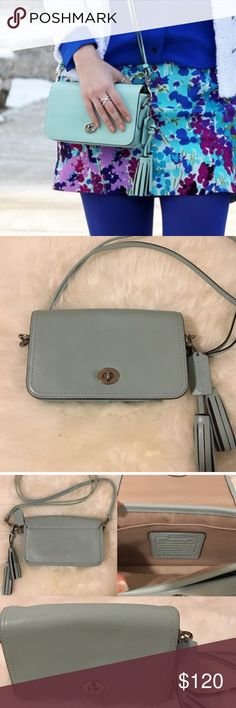 Coach Legacy Penny shoulder bag crossbody Beautiful bag in well-taken care of leather, mint blue-green in color. This bag is in really great condition - a small black smudge on the back which barely shows and could likely be removed using leather cleaner. The crossbody strap is removable so you can use the bag as a clutch as well! Coach Bags