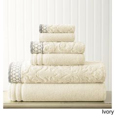 Damask Jacquard 6-piece Embellished Towel Set
