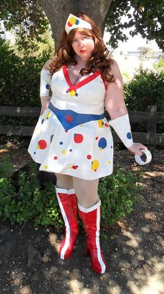 "Duct tape ""Wonder Woman"" costume (get it?) as featured on DuctTapeFashion.com.  #ducttape"