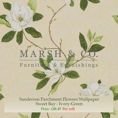 Sanderson Parchment Flowers Wallpaper - Sweet Bay - Ivory-Green