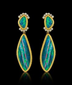 Carolyn Tyler Neela: 22k Gold, Opal and White Sapphire Earrings
