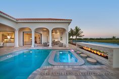 Vittoria Home Plan   Sater Design Collection   Luxury House Plans   Veranda and Pool Area