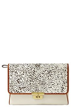 Fossil 'Memoir' Genuine Calf Hair Clutch Bone