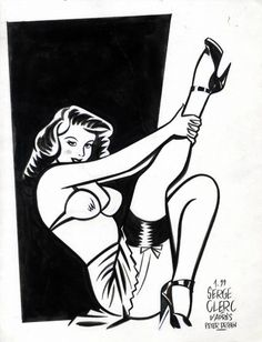 Clerc - Pin-Up, in Pierre A.'s Clerc, Serge Comic Art Gallery Room Pin Up Drawings, Sexy Drawings, Drawing Sketches, Retro Art, Vintage Art, Dibujos Pin Up, Pin Up Cartoons, Pin Up Girl Tattoo, Comic Art Girls