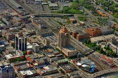 Sky view of downtown Roanoke