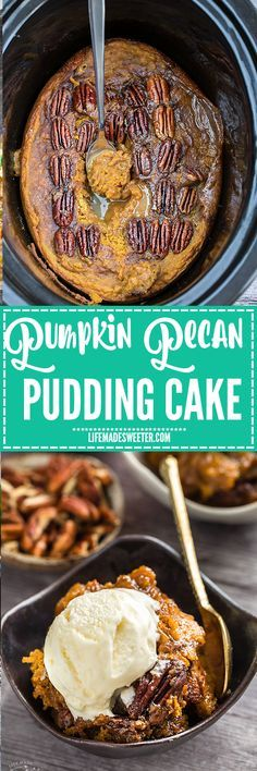 Slow Cooker Pumpkin Pecan Pudding Cake is the perfect decadent dessert - the fall version of a Hot Fudge Brownie Sundae Cake. Best of all, it's so easy to make with less than 20 minutes of prep time and cooks entirely in your crock-pot! Slow Cooker Desserts, Crock Pot Desserts, Köstliche Desserts, Dessert Recipes, Crock Pots, Pumpkin Recipes, Fall Recipes, Pudding Cake, Pumpkin Pudding