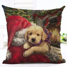 Christmas Puppy & Santa Cushion Cover. 30% proceeds from every purchase goes to animal charities.
