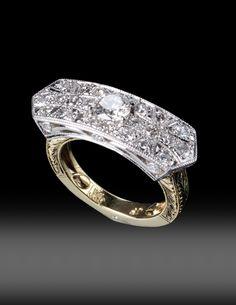 JPratt Designs: Custom created platinum, yellow gold and diamonds ornate ladies band
