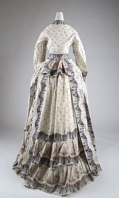 Morning dress Date: 1870s Culture: American Medium: cotton Dimensions: (a) Length at CB: 58 in. (147.3 cm) (b) Length at CB: 49 in. (124.5 cm) Credit Line: Gift of Mrs. Phillip H. Gray, 1950