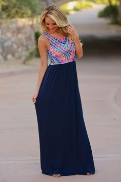 Won't Back Down Maxi Dress - Navy from Closet Candy Boutique #fashion #ootd #spring