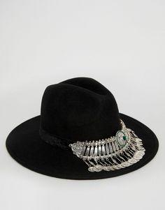 ab322b6b021c2 Imagen 3 de Sombrero Fedora de fieltro con piedras y monedas en la parte  delantera de