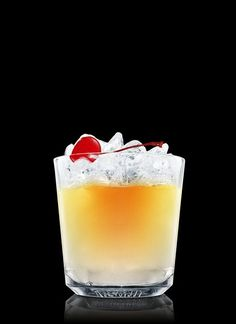 Absolut Apeach Surrender - Fill a chilled rocks glass with ice cubes. Add Absolut Apeach and grenadine. Top up with orange juice. Garnish with a maraschino berry. 8 Parts Absolut Apeach, 1 Dash Grenadine, Orange Juice, 1 Whole Maraschino Berry