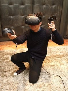 HTC Vive augmented VR reality headset and controllers